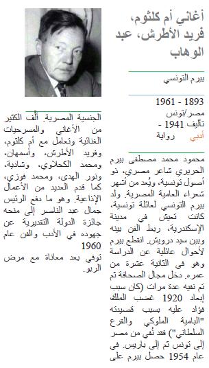 بيرم التونسي أغاني أم كلثوم، فريد الأطرش، عبد الوهاب