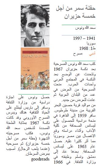 سعد الله ونوس حفلة سمر من أجل خمسة حزيران