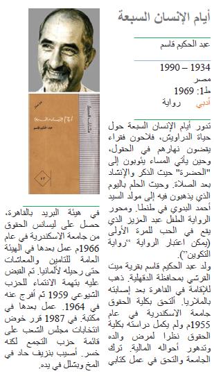 عبد الحكيم قاسم أيام الإنسان السبعة