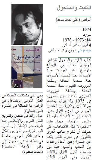 أدونيس (علي أحمد سعيد) الثابت والمتحول