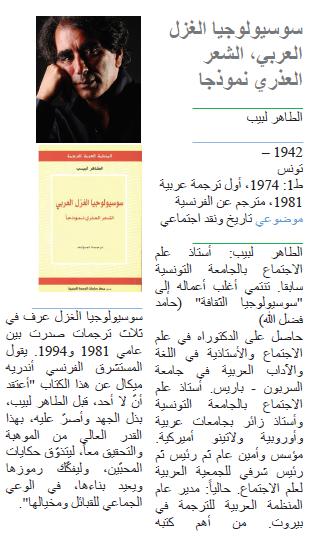 الطاهر لبيب سوسيولوجيا الغزل العربي، الشعر العذري نموذجا