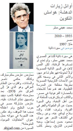محمد عفيفي مطر أوائل زيارات الدهشة: هوامش التكوين