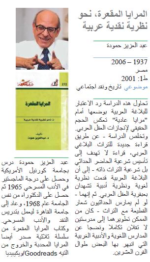 عبد العزيز حمودة المرايا المقعرة، نحو نظرية نقدية عربية