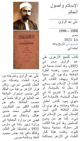 علي عبد الرازق الإسلام وأصول الحكم