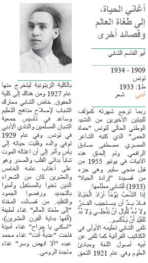 أبو القاسم الشابي أغاني الحياة، إلى طغاة العالم وقصائد أخرى