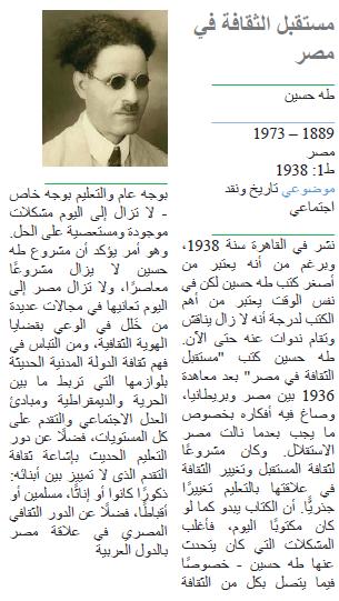 طه حسين مستقبل الثقافة في مصر